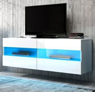 TV-Lowboard Rial in Hochglanz weiß TV-Unterteil hängend 100 x 35 cm inkl.  Beleuchtung