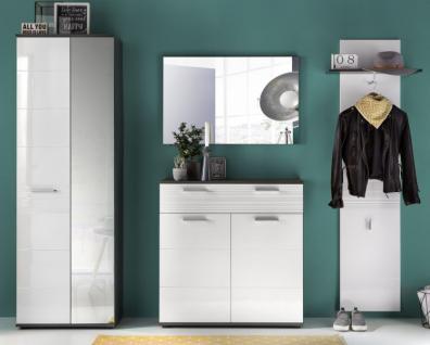 Flurgarderobe komplett Set Smart Hochglanz weiß und grau Dekor 4-teilig - Vorschau 3