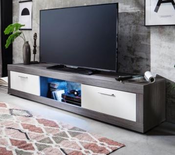 TV-Lowboard Jet in Sardegna grau Rauchsilber und weiß Fernsehtisch 190 x 40 cm TV-Unterteil