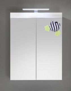 Badezimmer Spiegelschrank Amanda inkl. LED Beleuchtung Hochglanz weiß tiefgezogen 2-türig