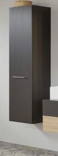 Badezimmer Hochschrank One in grau matt Lack Badschrank mit Spiegel innen 35 x 160 cm Badmöbel
