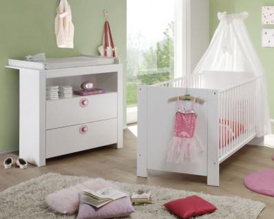 Babyzimmer Olivia in weiß und rosa komplett Set 2-teilig mit Wickelkommode und Babybett