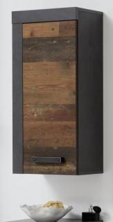 Badezimmer Hängeschrank Cancun in Old Used Wood Design mit Matera grau Badmöbel 36 x 79 cm Badschrank