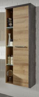Badezimmer Hochschrank / Hängeschrank Bay Eiche Riviera Honig und grau Beton Design mit Regal 160 cm