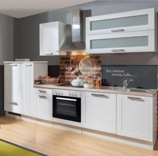 """Küchenblock Einbauküche """" White Premium"""" weiß matt Landhaus inkl. E-Geräte + Geschirrspüler Apothekerschrank satiniertes Glas 310 cm"""