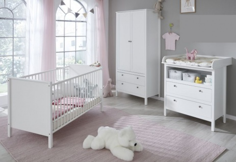 """Babyzimmer Set """" Ole"""" in weiß im Landhausstil 3-teilig mit Schrank, Bett und Wickelkommode"""