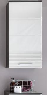 Bad Hängeschrank in Hochglanz weiß und grau 36 x 79 cm Badschrank Smart