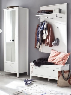 Garderobenset 3-teilig weiß Garderobenkombination Ole mit Schuhbank und Schrank 165 cm