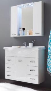 Badmöbel Set Aqua weiß Hochglanz Lack Waschplatz mit Waschbecken und Spiegelschrank 90 cm