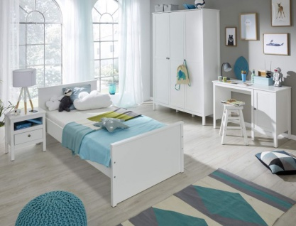 Kinderzimmer / Jugendzimmer komplett Set Ole 4-teilig in Landhaus weiß mit XXL Kleiderschrank