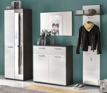 Flurgarderobe komplett Set Smart Hochglanz weiß und grau Dekor 4-teilig