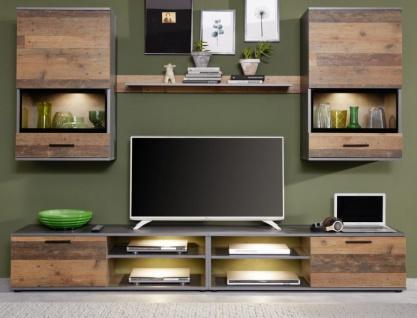 Wohnwand Mango in Old Used Wood Shabby Design mit Matera grau Schrankwand 5-teilig 231 x 182 cm - Vorschau 2