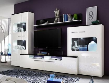 Wohnwand Anbauwand Lucky weiß und schwarz Hochglanz mit LED Beleuchtung