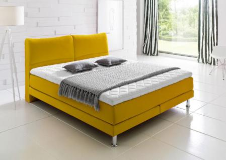 Boxspringbett Culture gelb 160 x 200 cm Mini Bonell + 7 Zonen Multi Tonnentaschenfederkern Matratze