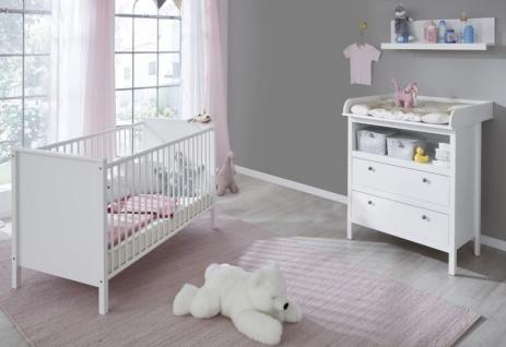 Babyzimmer Ole komplett Set 3-teilig weiß mit Wickelkommode Babybett und Wandregal - Vorschau 1