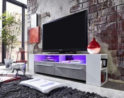 Fernsehschrank TV-Unterteil Medium weiß Glanz mit Industrie Beton RGB LED Beleuchtung 155 x 40 cm