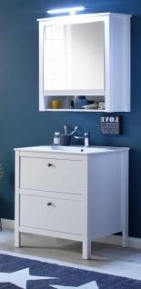 Badmöbel Set Ole weiß 3-teilig Badezimmer mit Unterschrank Keramik-Waschbecken und Spiegelschrank 61 x 192 cm