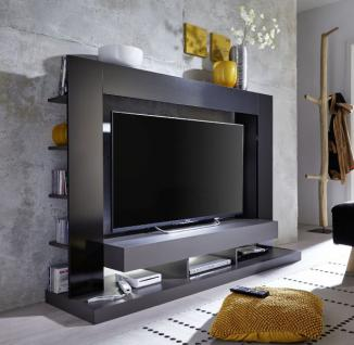 Medienwand TV Unterteil Cyneplex schwarz grau glänzend 164 x 124 cm LED Beleuchtung