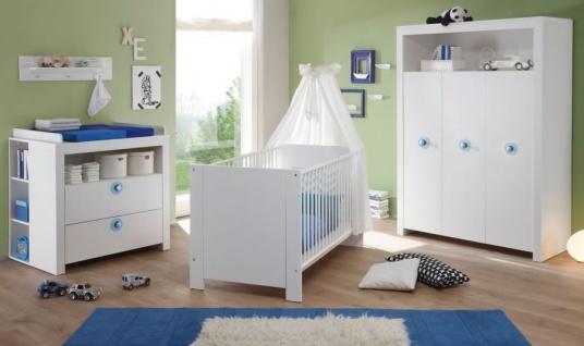 Babyzimmer Olivia in weiß und blau komplett Set 3-teilig mit Wickelkommode Kleiderschrank und Babybett - Vorschau 2