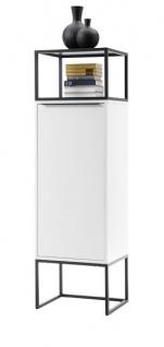 """Vitrine """" Lille"""" in weiß matt lackiert Vitrinenschrank mit Metallgestell schwarz 50 x 165 cm"""