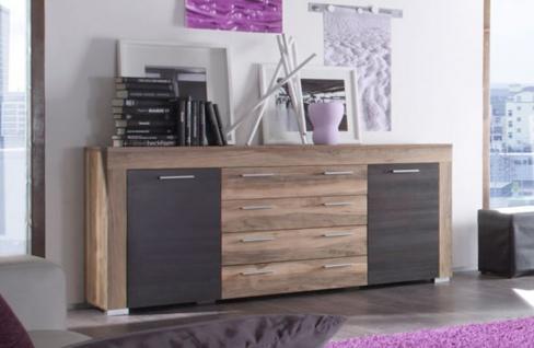 """Wohnzimmer: Sideboard """" Boom"""" Nussbaum Satin, Touchwood dunkelbraun (176 x 79 cm)"""
