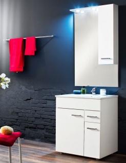 Badmöbel komplett Set Minka echt Lack Hochglanz weiß 4-teilig inkl. Waschbecken, Spiegel, Schrank und Beleuchtung 60 cm