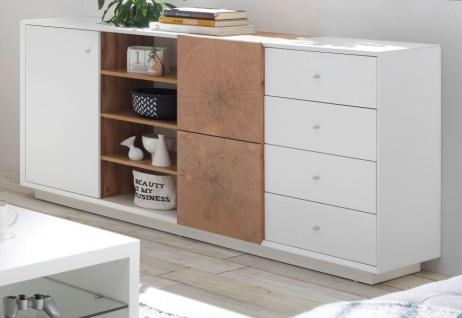 """Sideboard """" Jamaika"""" in weiß matt lackiert und Eiche Hirnholz Kommode 179 x 83 cm"""