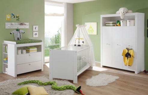 Babyzimmer Olivia in weiß komplett Set 5-teilig mit Kleiderschrank Babybett Wickelkommode mit Regal und Wandregal