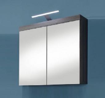 Spiegelschrank Miami Badezimmer Schrank Sardegna rauchsilber grau LED Spiegellampe