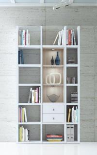 Wohnwand Bücherwand Dekor Lack weiß Hochglanz Eiche Natur LED-Beleuchtung Breite 120 cm