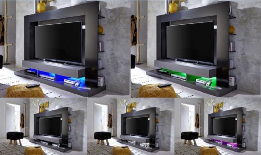 Medienwand tv unterteil cyneplex schwarz grau gl nzend 164 x 124 cm led farbwechsel beleuchtung - Medienwand tv ...