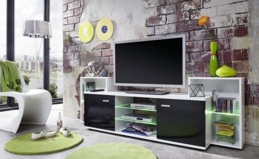 TV Board Lowboard Mediencenter Xenon schwarz glänzend mit weiß RGB LED Beleuchtung 190 x 62 cm