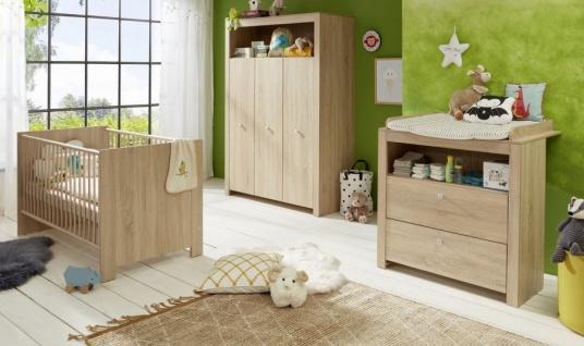 Babyzimmer Olivia komplett Set 3-teilig in Sonoma Eiche hell sägerau mit Wickelkommode Kleiderschrank und Babybett
