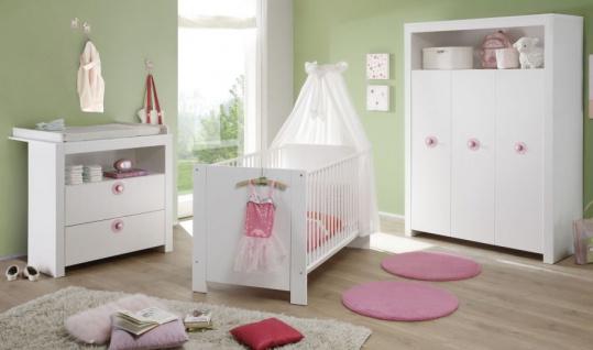 Babyzimmer Olivia in weiß und rosa komplett Set 3-teilig mit Wickelkommode Kleiderschrank und Babybett