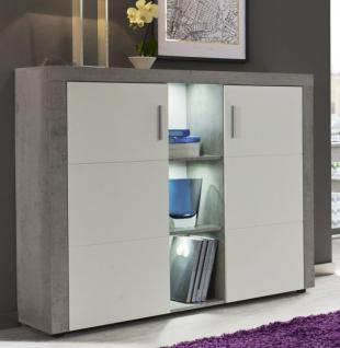 Highboard Kommode Creek Weiss Und Industrie Beton Stone Design 130 Cm