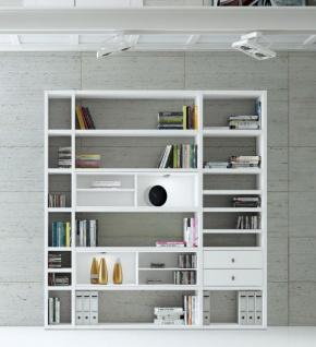 Wohnwand Bücherwand Dekor Lack weiß Hochglanz LED-Beleuchtung Breite 207 cm