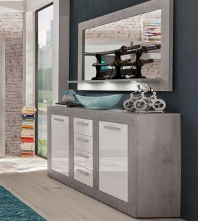 Sideboard Anrichte mit Spiegel Pure 2 tlg. Hochglanz weiß mit Industrie Beton