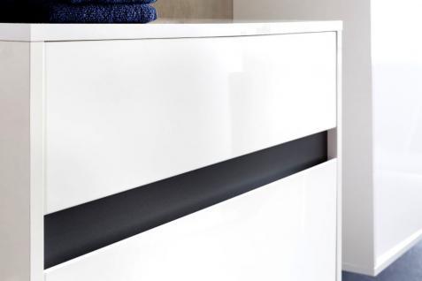 Badmöbel komplett Set Lack Hochglanz weiß und grau 5-teilig SOL hängend - Vorschau 2