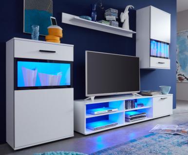 Wohnwand Mediawand Swing in weiß mit Absetzungen Siebdruck Lack schwarz