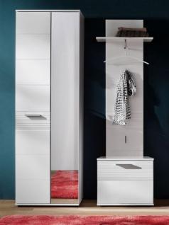 Flur Garderobe Ice In Hochglanz Weiß Mit Rillenoptik Set 3 Teilig