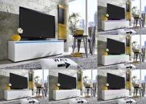 TV Unterteil Rocket weiß glänzend mit RGB LED Beleuchtung 140 x 38 cm