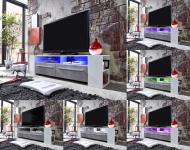 Lowboard TV Unterteil Medium weiß Glanz mit Industrie Beton RGB LED Beleuchtung 155 x 40 cm