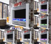 TV Mediencenter Medienwand Medium weiß Glanz mit Industrie Beton RGB LED Beleuchtung 165 x 145 cm