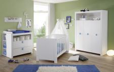 Babyzimmer Set Olivia komplett weiß 5-teilig inkl. Applikationen in blau