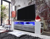 TV Unterteil Lowboard Medium weiß Glanz mit Industrie Beton RGB LED Beleuchtung 155 x 40 cm
