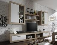 Fernsehwand TV-Wand Ocean 6 tlg. Eiche Sonoma mit weiß inkl. LED Beleuchtung Breite 290 cm