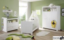 Babyzimmer Set Olivia komplett weiß 5-teilig Kleiderschrank Babybett Wickelkommode
