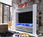 Medienwand TV Mediencenter Medium weiß Glanz mit Industrie Beton RGB LED Beleuchtung 165 x 145 cm