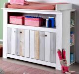 Wickelkommode in Pinie weiß mit Holzplankenoptik 108 cm Babyzimmer Joshua