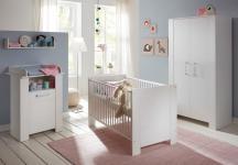 Babyzimmer komplett Set Miri weiß Pinie 3-6 teilig mit Kleiderschrank 104 cm